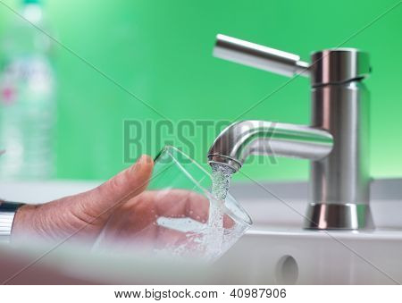 Fillig Glass Of Mains Water, Drinking Water
