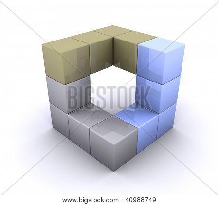 An illustration of 3d cubical design element