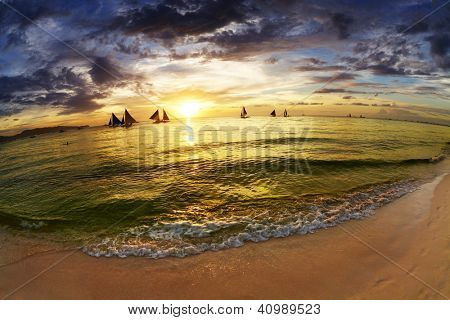 Tropical beach at sunset, Boracay island, Philippines, fisheye shot