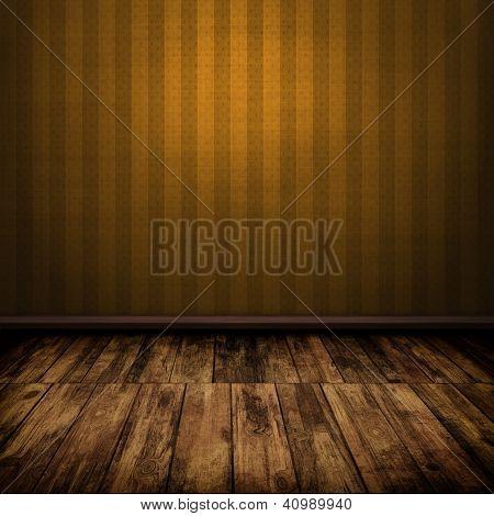 Dark Vintage Brown Room Interior With Wooden Floor
