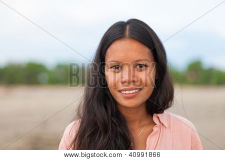 portrait of beautiful asian woman with long hair