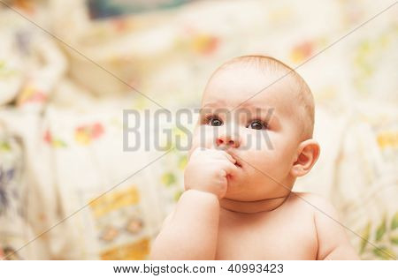 Little Child Eating Biscuit