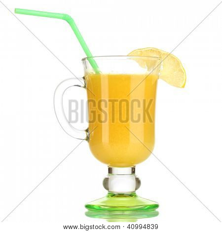 Delicious multifruit juice isolated on white