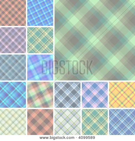 Seamless Plaid Material Patterns