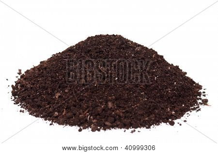 Organic soil isolated on white background