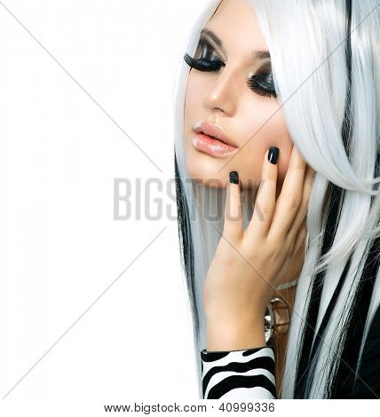 Beauty Fashion Girl black and white style. Long White Hair with Black Stripes. Smoky Eyes Makeup. Black Nails.