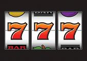 stock photo of bandit  - Winner triple sevens at slot machine - JPG