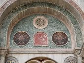 Moorish Arches On The Facade Of St. Mark's Basilica In Venice
