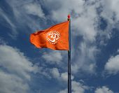 Flag With A Sign Om Or Aum --is A Sacred, Mystical Syllable In The Dharma Or Indian Religions