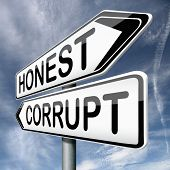 picture of immoral  - corrupt or honest corruption or honesty - JPG