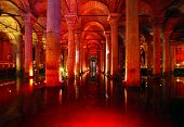 stock photo of underground water  - Underground basilica cistern. Byzantine water reservoir build by Emperor Justinianus - Turkey Istanbul