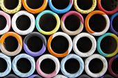 stock photo of rayon  - Colorful spools of thread in a textile factory - JPG