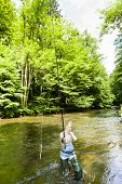 image of fisherwomen  - woman fishing in river - JPG