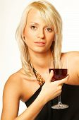 image of matron  - blond girl with glass of wine close up - JPG