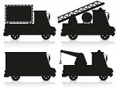 picture of ice-cream truck  - car icon set black silhouette vector illustration isolated on white background - JPG
