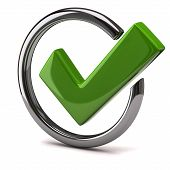 image of yes  - Green tick sign in silver circle - JPG