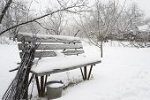 Snow-covered Bench
