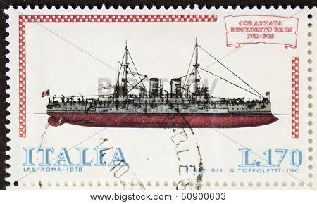 ITALY �?�¢?? CIRCA 1978: a stamp printed in Italy shows image of  Battleship Benedetto Brin (Italian Royal Navy). Italy, circa 1978