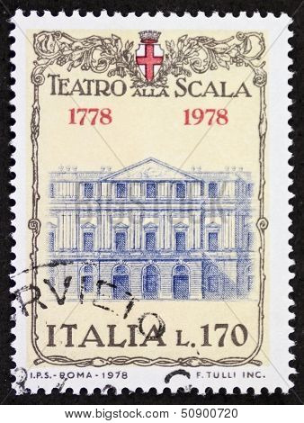 ITALY �¢?? CIRCA 1978: a stamp printed in Italy shows illustration of  La Scala theatre facade, famous opera house in Milan. Italy, circa 1978