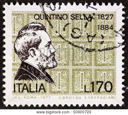 ITALY - CIRCA 1977: a stamp printed in Italy shows  portrait of Quintino Sella (1827 �¢?? 1884) Italian statesman. Italy, circa 1977