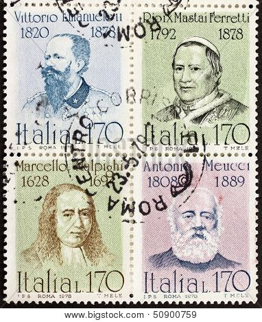 ITALY �?�¢?? CIRCA 1978: a block of four stamps printed in Italy shows portraits of  famous Italians: King Vittorio Emanuele, Pope Pio IX, Marcello Malpighi and Antonio Meucci. Italy, circa 1978