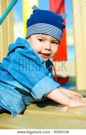 Cute Boy Playing Outdoor