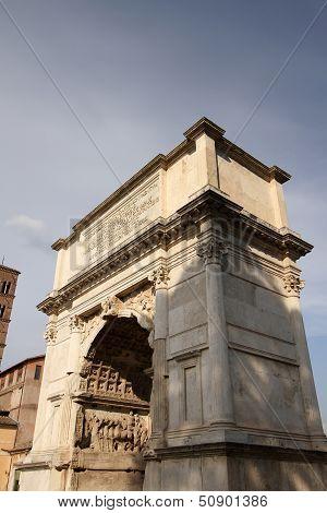 Arch of Titus in Roman forum Rome Italy