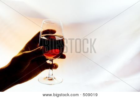 Backlighting Red Wine Glass