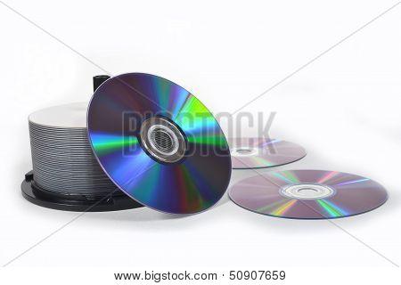 stack of cd roms. CD & DVD disk on white
