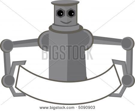 Robot Holding Banner Mascot