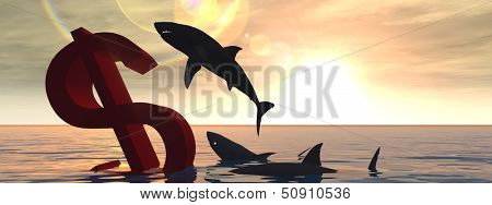 High resolution conceptual bloody dollar symbol or sign sinking in water or sea, with black sharks eating , metaphor or concept for crisis in US, ideal for financial,business or currency design banner