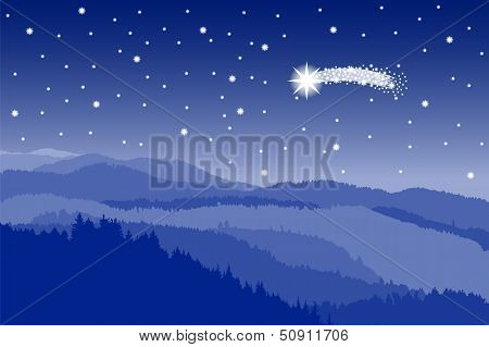 Starlit Sky With Shooting Star