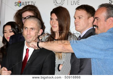LOS ANGELES - SEP 12:  Desmond Harrington, Jennifer Carpenter, Michael C. Hall, David Zayas at the Paley Fall Farwell-