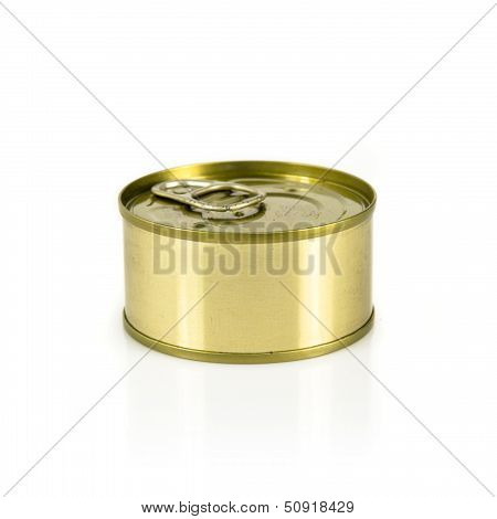 Closed Can Of Tuna Isolated Over White Background