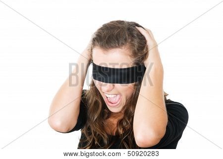 Shocked Young Female With Blindfold