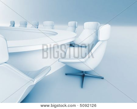 Table Is Surrounded White Leather Chairs