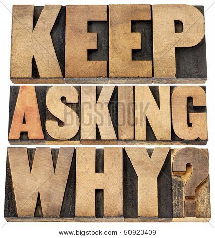 keep asking why  - motivational advice - a collage of isolated text in letterpress wood type blocks