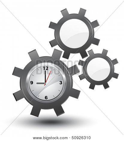Business time management, clock with cogwheels, vector,