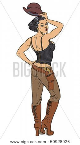 Young beautiful lady dressed up in the Wild West style. Editable vector illustration.