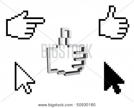 thumbs up like and arrow pixel cursor 3d