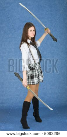 Girl With Two Swords On A Blue Background