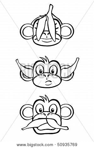 Three wise monkeys (black and white)