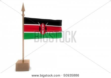 kenia waving flag isolated on white
