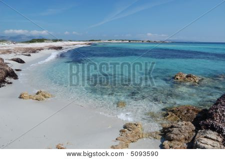 white beach on the Esmerald Coast in San Teodoro in Sardinia