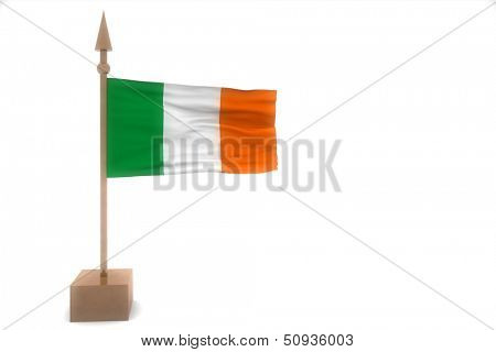 ireland waving flag isolated on white