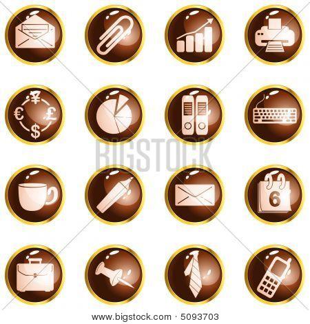 Botones de oficina de alto brillo redondo