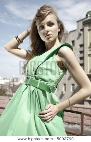 Fashion Model In Green