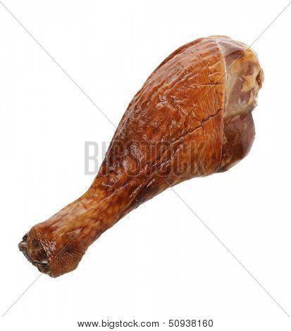 Turkey Smoked Leg Isolated On White