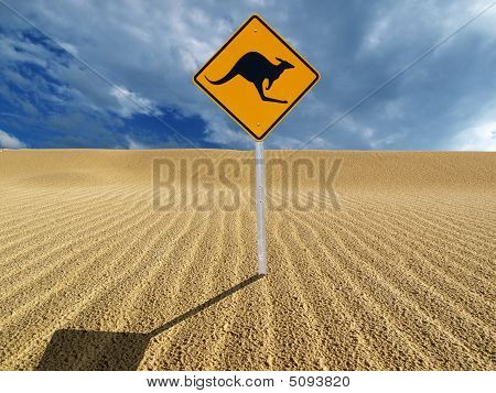 Kangaroo Sign at the Beach