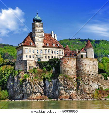 Austria scenery, old abbey castle on Danube